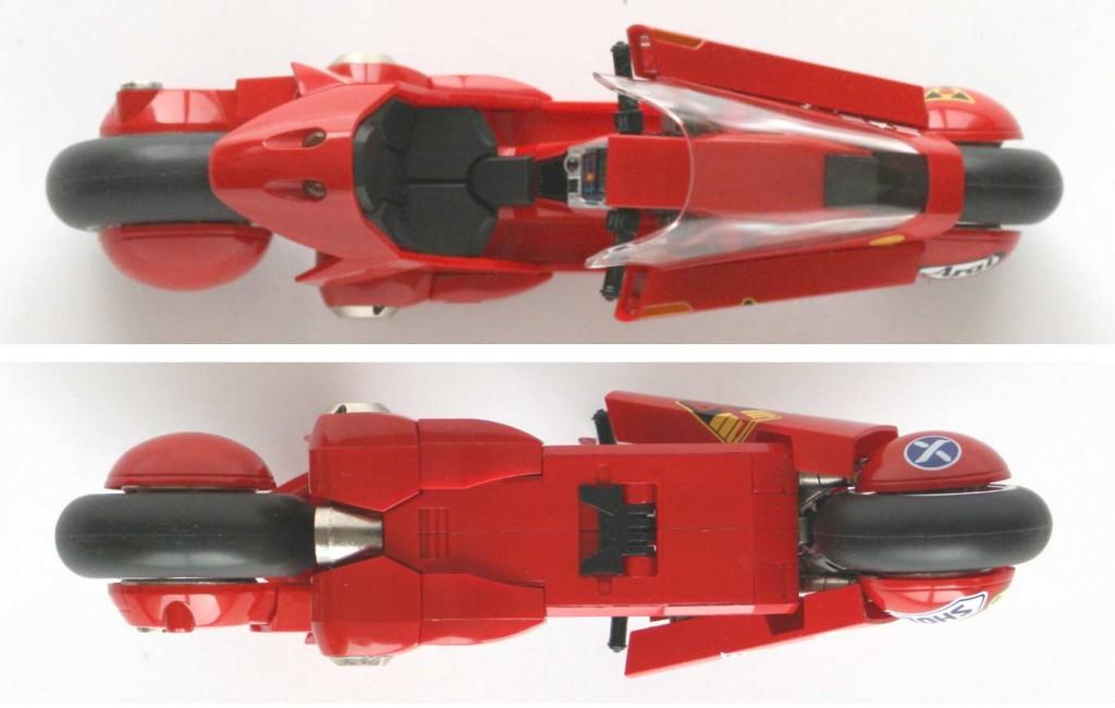 vue de dessus et dessous de Kaneda's bike - ech 1/15 (Bandai)
