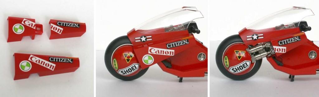 les supports de rétroviseurs de la moto de Kaneda sont en deux morceaux (Bandai)