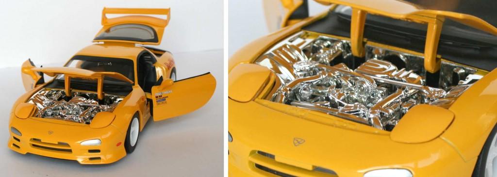 L'ensemble du bloc moteur est chromé - Mazda RX 7 FD3S - ech 1/18 (Jada Toys) - Initial D