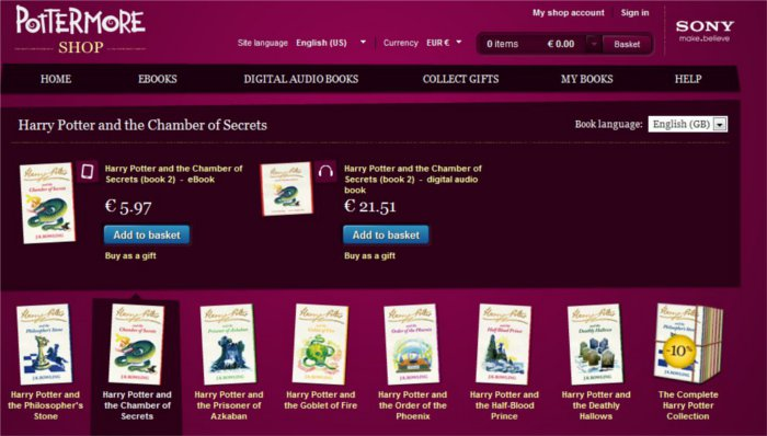 Image du shop Harry Potter avec les livres en anglais