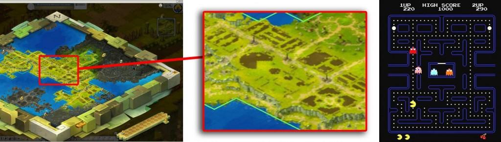Sur la carte d'Amakna, les reliefs dessinent un Pac-Man (MMO Wakfu)
