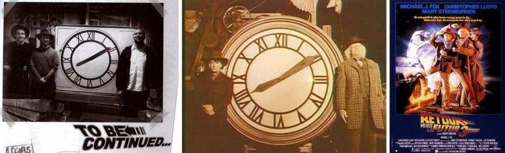 Cette page fait allusion à l'horloge du film Retour vers le futur 3