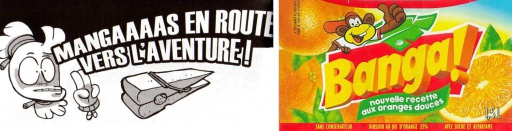 """Le titre Mangaaaas en route vers l'aventure fait allusion au slogan de la pub pour la boisson Banga dans les années 80 """"Baaaanga En route vers l'aventure"""""""