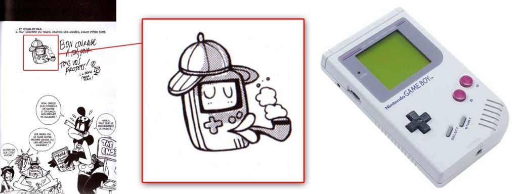 Le petit personnage avec un chapeau est une Gameboy de Nintendo