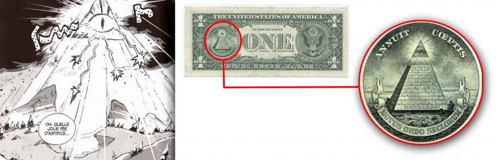 """Le symbole est """"l'œil de la providence"""", qui représente l'œil de Dieu veillant sur l'Humanité"""
