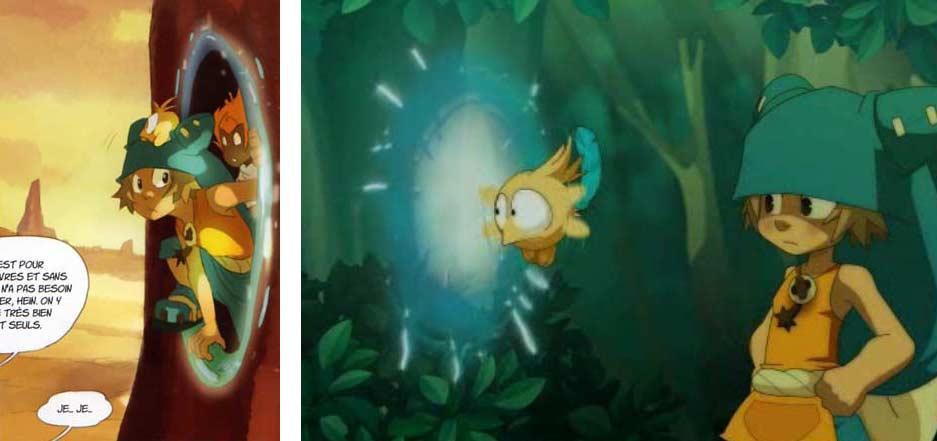 Lorsque Yugo génère son portail dimensionnel, on peut voir à travers ce qu'il y a de l'autre côté, ce qui n'est pas le cas dans la série TV de Wakfu