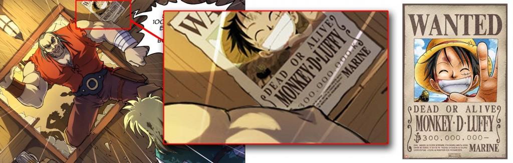 On voit l'avis de recherche de Luffy tirée du manga One Piece