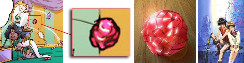La boule rose que Jadina jette est un drag-energyst tiré de Vision d'Escaflowne