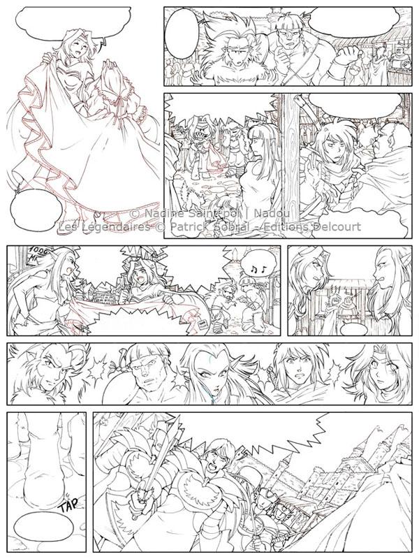 Les Légendaires : Planche de test de Nadou N°1 - line art
