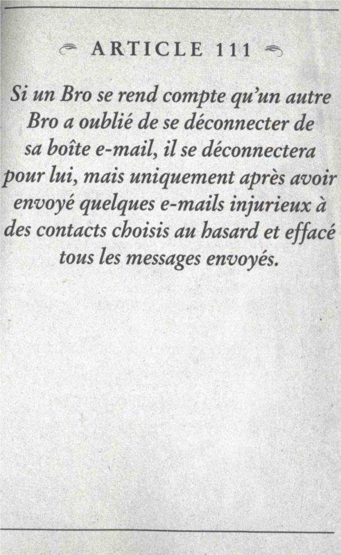 Article 111 du Bro Code de Barney Stinson et la gestion de la boîte email laissée ouverte