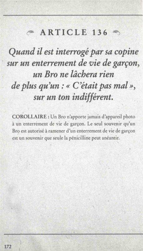 Article 136 du Bro Code de Barney Stinson sur l'enterrement de vie de garçon