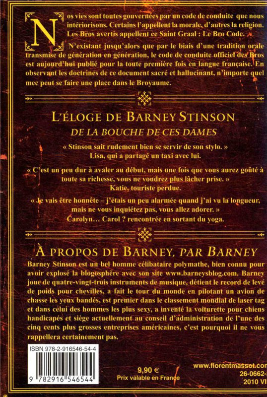 Dos du livre How I met your mother : le bro code de Barney Stinson