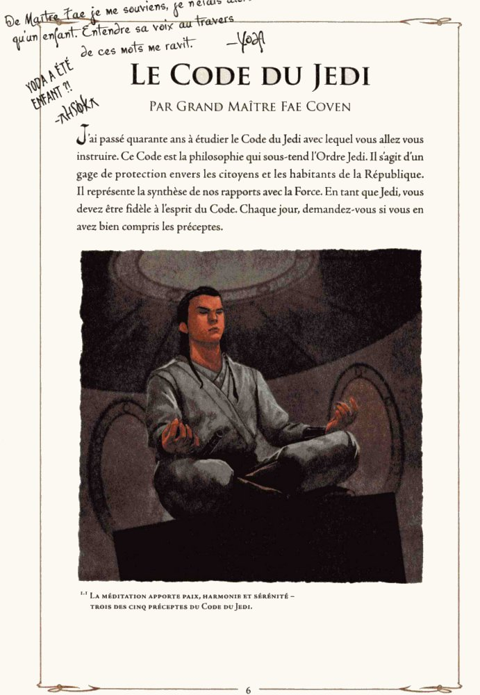 Page 1 du code Jedi tiré du manuel du Jedi (Star Wars)