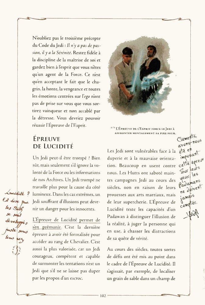 Page 1 de la description de l'épreuve de lucidité des Jedi d'après le manuel du Jedi (Star Wars)