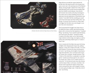 Page 1 sur les vaisseaux spatiaux avec la partie texte (tiré du livre The Art and Making of Star Wars : The Old Republic)