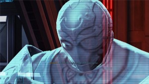 Dark Baras parlant à son padawan dans Star Wars : The Old Republic lors de l'arrivée sur son vaisseau