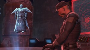 Dark Baras en communication avec un soldat de l'Empire dans Star Wars : The Old Republic