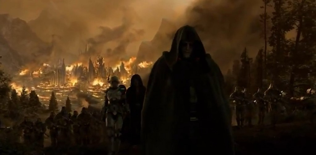 Dark Malgus devant Aldéran en flamme dans Star Wars : The Old Republic dans la vidéo d'introduction