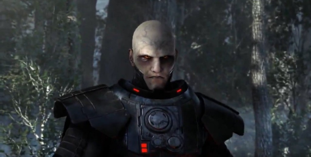 Dark Malgus dans les bois d'Aldéran se préparant à combattre dans Star Wars : The Old Republic