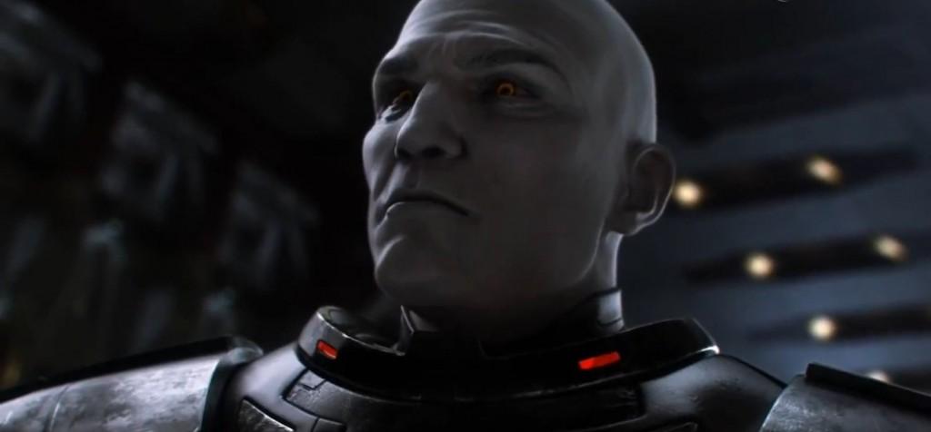 Gros plan de Dark Malgus Dark Malgus dans Star Wars : The Old Republic au moment de reprendre Korriban