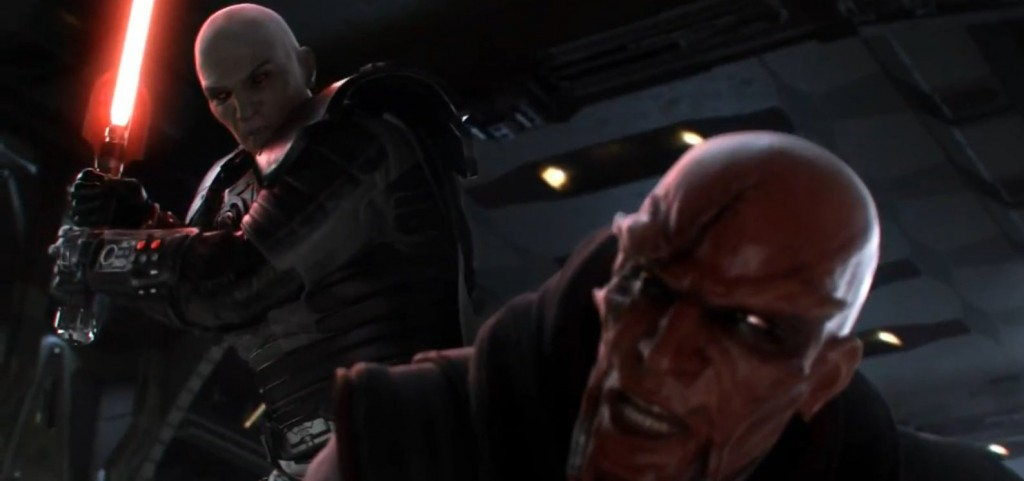 Dark Malgus tuant son maître sur Korriban dans Star Wars : The Old Republic