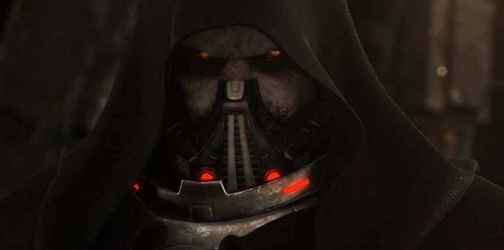 Visage de Dark Malgus pendant le sac du temple Jedi de Coruscant dans Star Wars : The Old Republic