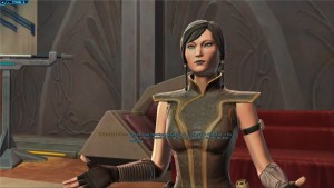 Satele Shan parlant du code jedi dans Star Wars : The Old Republic à un padawan prometteur