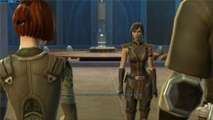 Satele Shan face à Kira Carsen dans Star Wars : The Old Republic. La padawan lui apprend qu'elle est une sith qui a fui Korriban