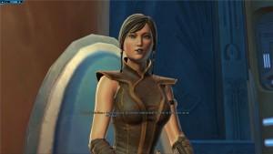 Satele Shan assise au conseil Jedi dans Star Wars : The Old Republic et écoute des rapports