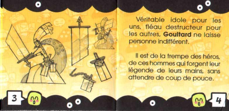 Page 3 et 4 du livret fourni avec la figurine Goultard en résine (Dofus)