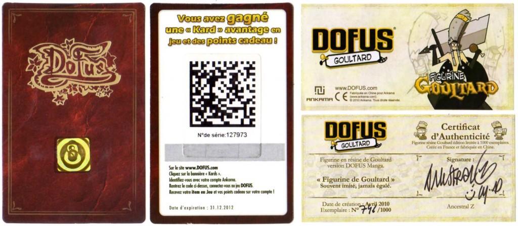 Carte de Loterie Dofus et Certificat d'authenticité de la figurine de Goultard (Dofus)