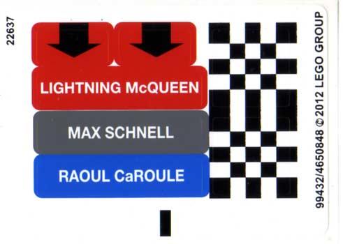Autocollant - Lego 9485 - Ultimate Race Set (Cars 2)