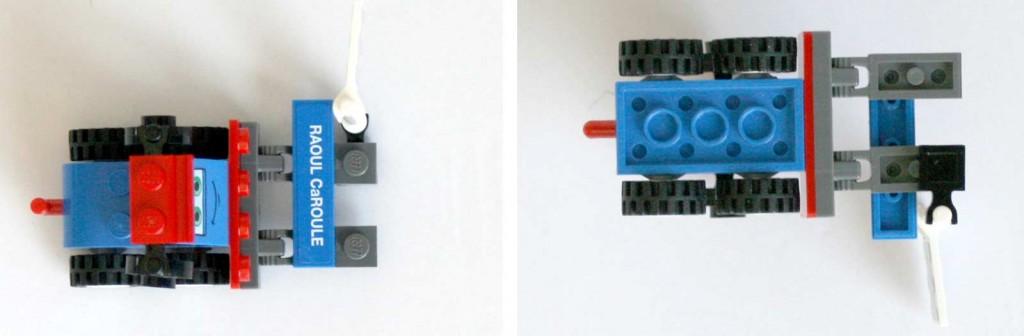 Chariot élévateur vue de dessus et dessous - Lego 9485 - Ultimate Race Set (Cars 2)