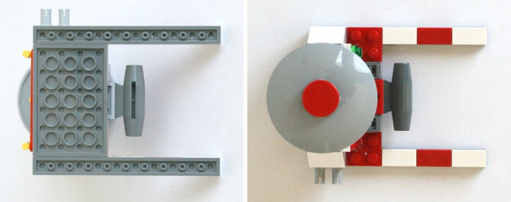 Vue de dessus et dessous de la catapulte du Lego 9485 - Ultimate Race Set (Cars 2)