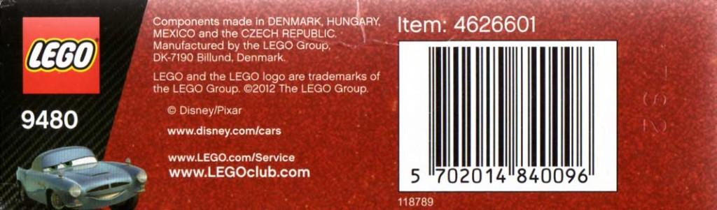 Packaging dessous - Lego 9480 - Finn McMissile