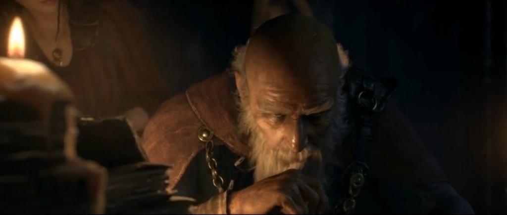 Deckard Cain plongé dans ses recherches à la cathétrale de Tristram
