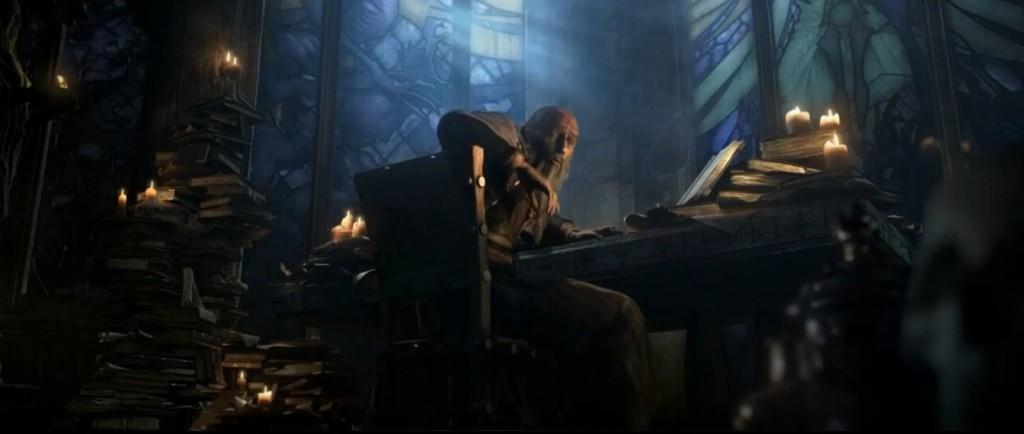 Deckard Cain faisant des recherches dans la cathédrale de Tristram