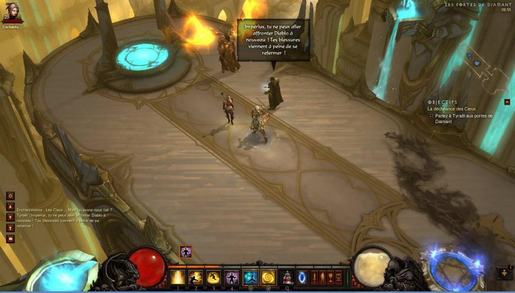 Tyraël se fâche contre le chef des Anges, Impérius dans Diablo 3 alors qu'il essaie d'aider aux combats aux paradis.