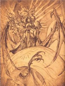 Inarius enlaçant Lilith pendant la création du monde du Sanctuaire (livre de Cain - Diablo)