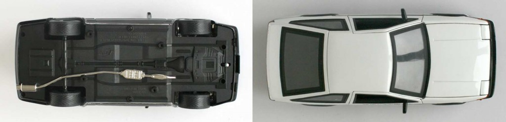 Vue de dessus et dessous de la Toyota Trueno AE 86 d'initial D (die cast - ech 1/18)