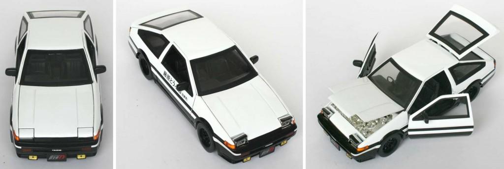 les phares se relèvent - Toyota Trueno AE 86 d'initial D (die cast - ech 1/18)