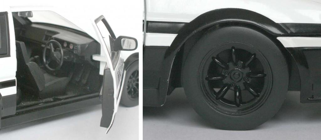 le siège baquet, le compte-tours et les freins à disques sont absents du modèle réduit