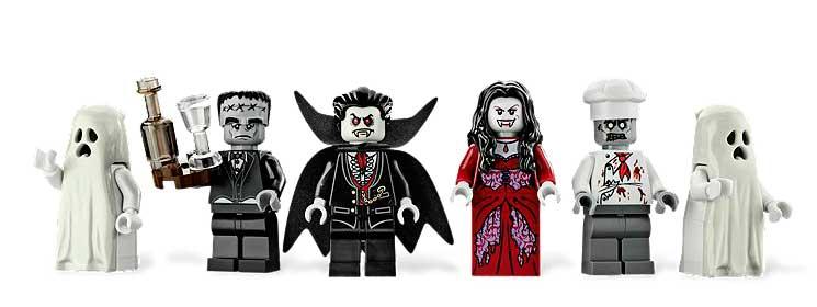 """La gamme des 6 minifigures fournies avec le set. C'est la première fois qu'un Frankenstein """"gris"""" sort chez lego. D'habitude, il est vert."""