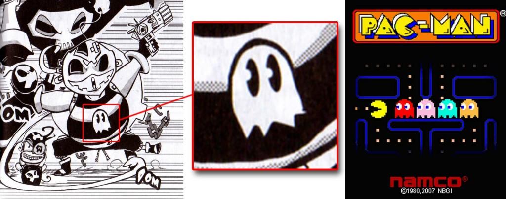 Le personnage sur le T-shirt du roublard est le fantôme tiré du jeu Pac-Man.