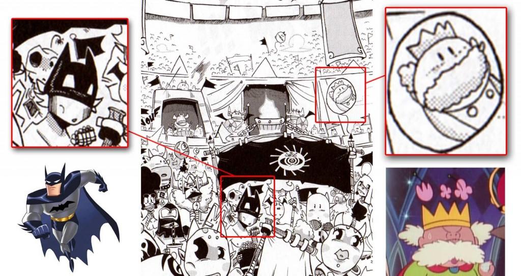 l'un des spectateurs porte un masque de Batman et que sur un des ballon se trouve le portrait du père de Gigi