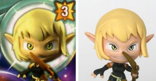 Sur la figurine en revanche, les designers ont rajouté un trait noir au dessus de la pupille.