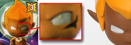 Sur le modèle 3D au dos de la carte Tristepin a des pupilles