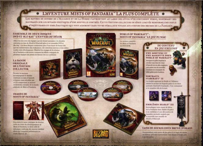Image avec le contenu complet du coffret collector de Mists of Pandaria