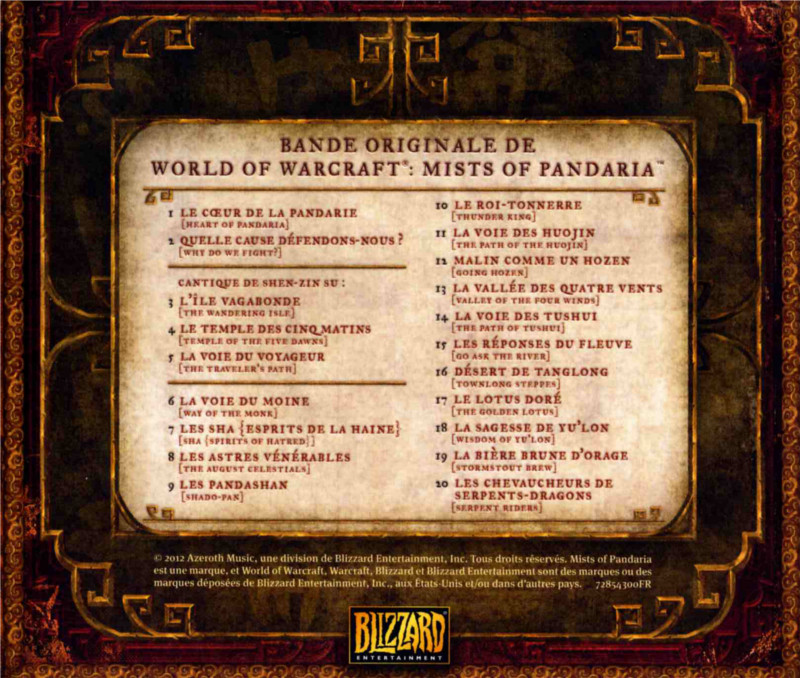 Playlist de l'OST Mists of Pandaria (fournie avec l'édition collector)