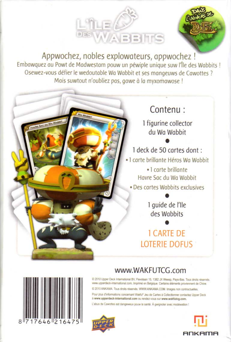 Packaging dos de la figurine Wa Wabbit (Dofus - Wakfu)